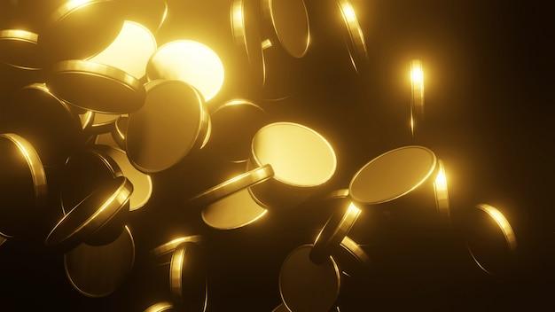Złote Monety Spada Na Czarnym Tle Premium Zdjęcia