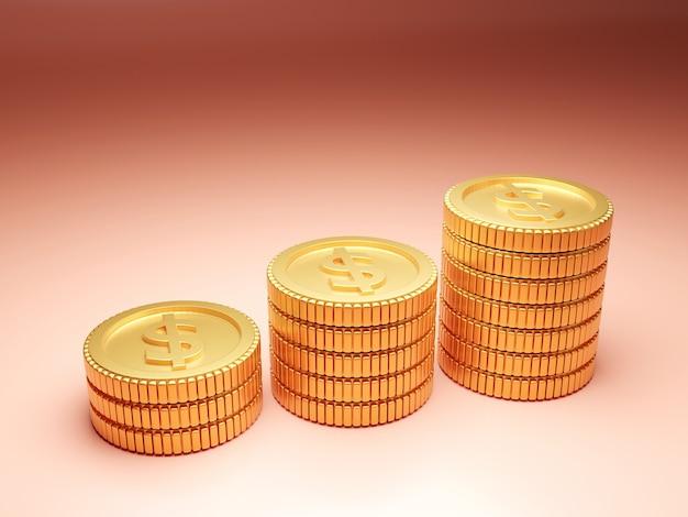 Złote Monety Ułożone Na Jasnobrązowym Tle Premium Zdjęcia