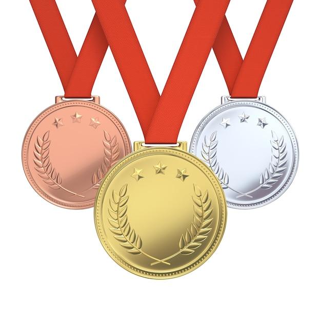 Złote, Srebrne I Brązowe Medale Premium Zdjęcia