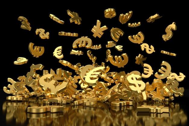 Złote symbole walut. renderowanie 3d. Premium Zdjęcia