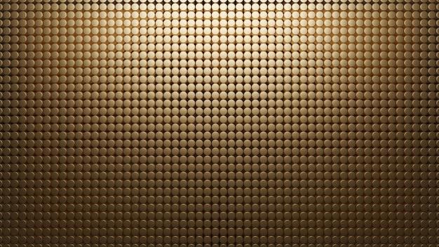 Złote Tło Metalowe Małe Kółka. Wzór Siatki Streszczenie Renderowania 3d. Materiał Węglowy. Tekstura Premium Zdjęcia