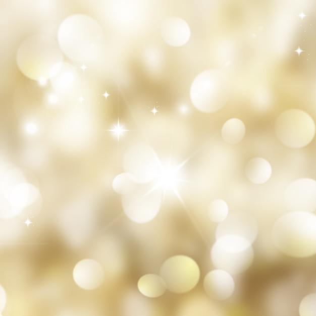 Złoto boże narodzenie z bokeh światła i gwiazdy Darmowe Zdjęcia