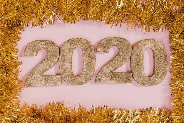 Złoty blichtr rama ze znakiem nowego roku Darmowe Zdjęcia