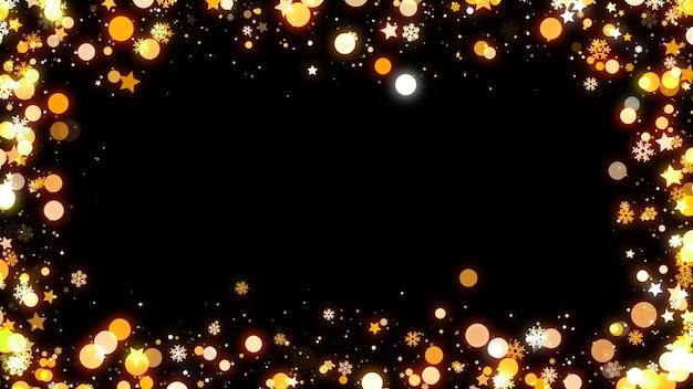 Złoty Błyszczący Bokeh I Gwiazdy Ramki Na Czarnym Tle Z Miejsca Na Kopię. Premium Zdjęcia