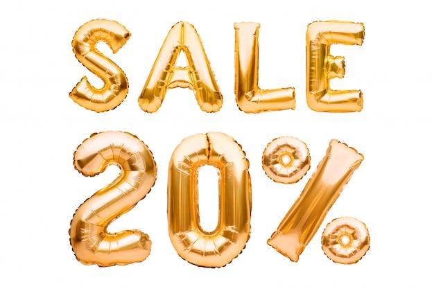 Złoty Dwadzieścia Procent Sprzedaży Znak Robić Nadmuchiwani Balony Odizolowywający Na Bielu. Balony Helowe, Numery Złotej Folii. Premium Zdjęcia
