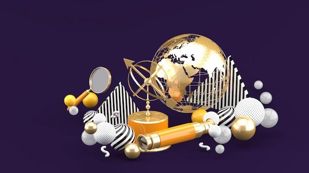 Złoty Glob, Szkło Powiększające, Lornetka I Zegar Słoneczny Wśród Kolorowych Kulek Na Fioletowej Przestrzeni Premium Zdjęcia