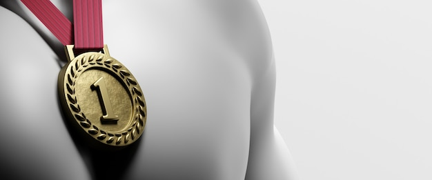 Złoty Medal Na Piersi. Renderowania 3d Premium Zdjęcia