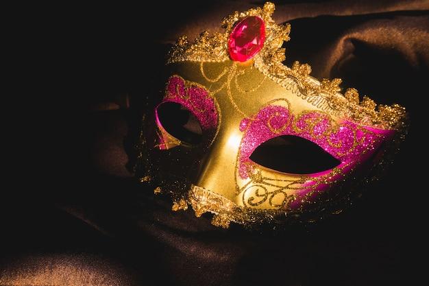 Złoty weneckie maski z ciemnym tle Darmowe Zdjęcia