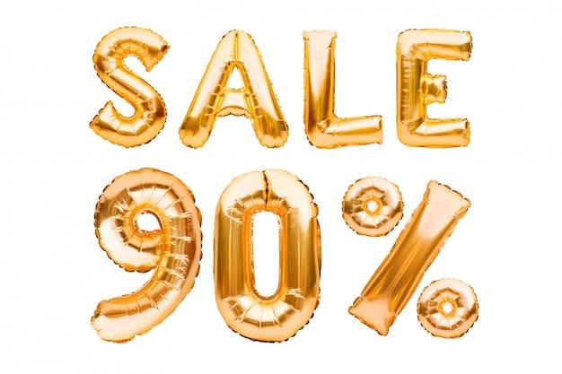 Złoty Znak Sprzedaży Dziewięćdziesiąt Procent Wykonane Z Nadmuchiwanych Balonów Na Białym Tle. Balony Helowe, Numery Złotej Folii. Premium Zdjęcia