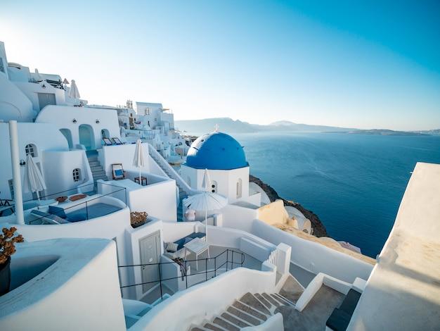 Zmierzchu Widok Od Oia, Santorini Wyspa, Grecja. Premium Zdjęcia