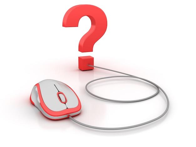 Znak Zapytania I Mysz Komputerowa Premium Zdjęcia