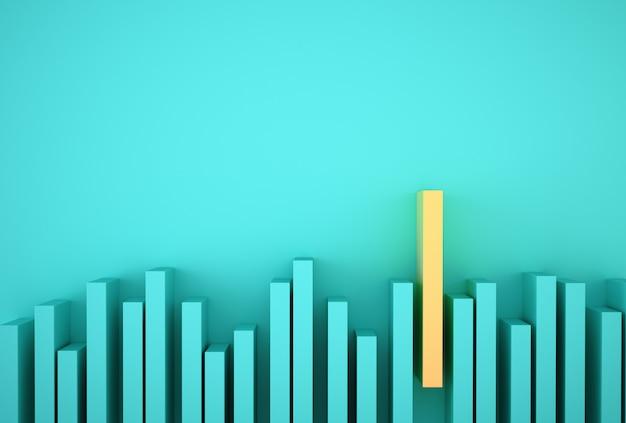 Znakomity żółty wykres słupkowy wśród niebieskiego wykresu słupkowego na jasnoniebieskim Premium Zdjęcia