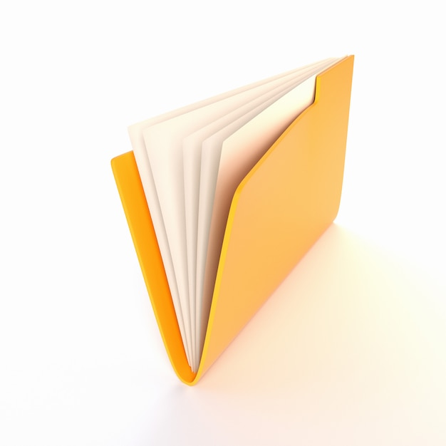 Żółta teczka na białym tle. ilustracja 3d. renderowanie Premium Zdjęcia