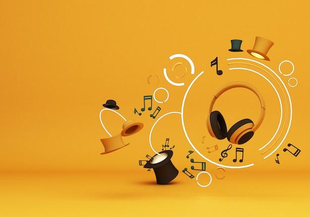 Żółte Słuchawki Z Nutą Muzyki I Kolorowe Kapelusze Na żółtym Tle Renderowania 3d Premium Zdjęcia