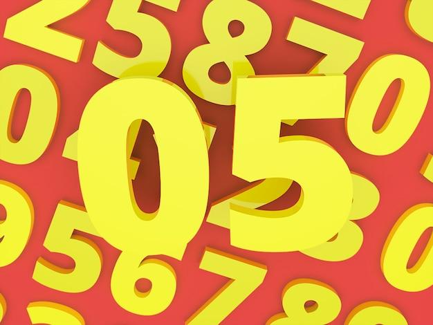 Żółte Zero Pięć Liczba 3d Z Liczbą Renderowane Zdjęcie Premium Premium Zdjęcia