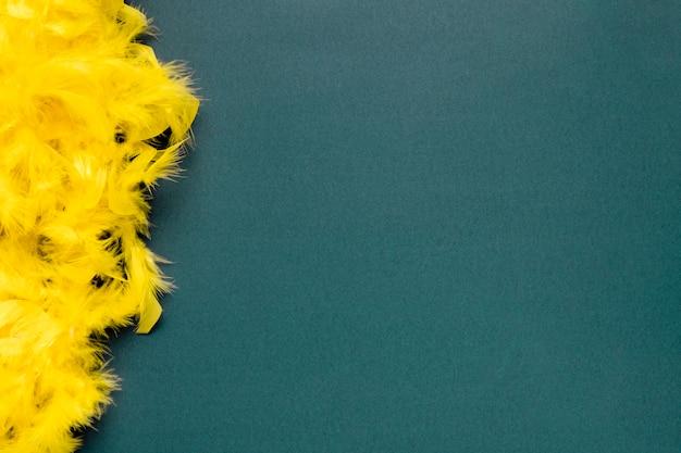 Żółty Boa Z Piór Na Niebieskim Tle Z Miejsca Kopiowania Darmowe Zdjęcia