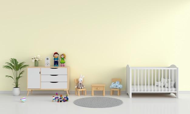 Żółty Dziecko Sypialni Wnętrze Dla Makiety Premium Zdjęcia