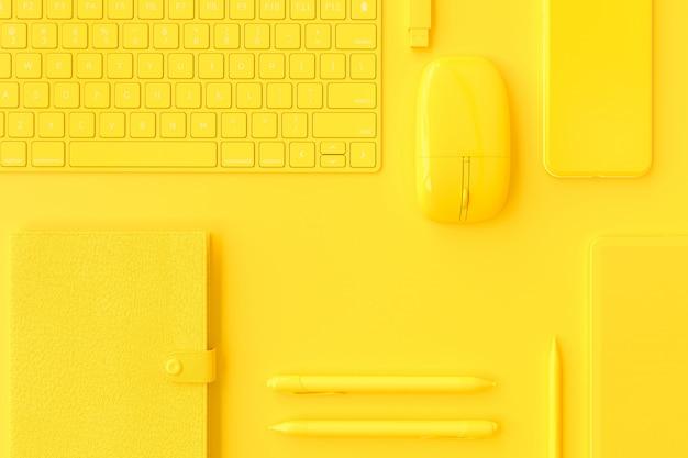 Żółty Komputerowy Wyposażenie Na Pracy Biurku. Premium Zdjęcia