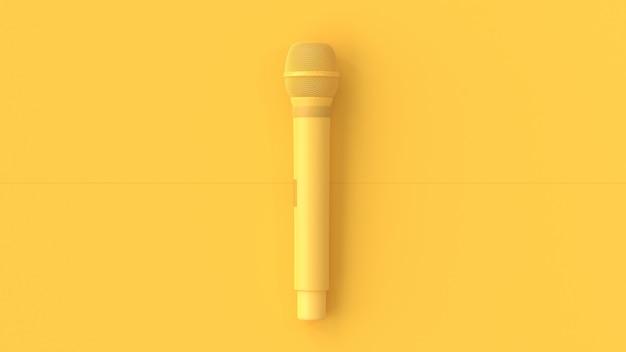 Żółty mikrofon muzyki w tle. Premium Zdjęcia