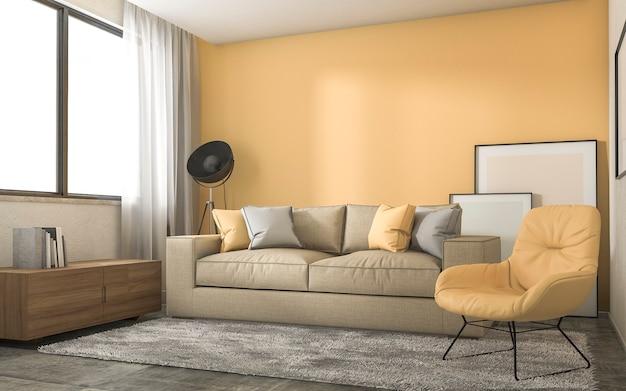 Żółty salon na poddaszu z minimalną dekoracją Premium Zdjęcia