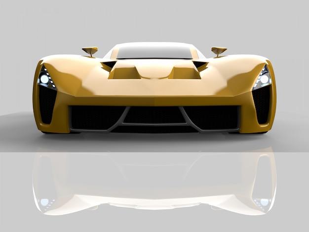 Żółty Samochód Koncepcyjny Wyścigowy. Zdjęcie Samochodu. Renderowania 3d. Premium Zdjęcia