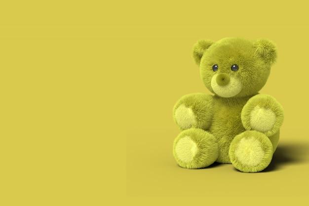 Żółty Zabawkowy Niedźwiedź Siedzi Na Podłodze. Renderowania 3d. Premium Zdjęcia