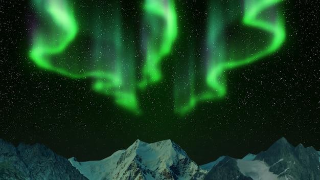 Zorza Polarna W Górach Premium Zdjęcia