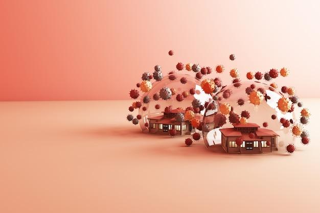 Zostań W Domu Zachowaj Spokój Slogan House W Szklanej Kuli Chroniącej Koronawirusa Premium Zdjęcia