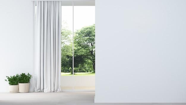 Zrelaksuj wnętrze w minimalistycznej i ściennej dekoracji pustej w mieszkaniu- Premium Zdjęcia