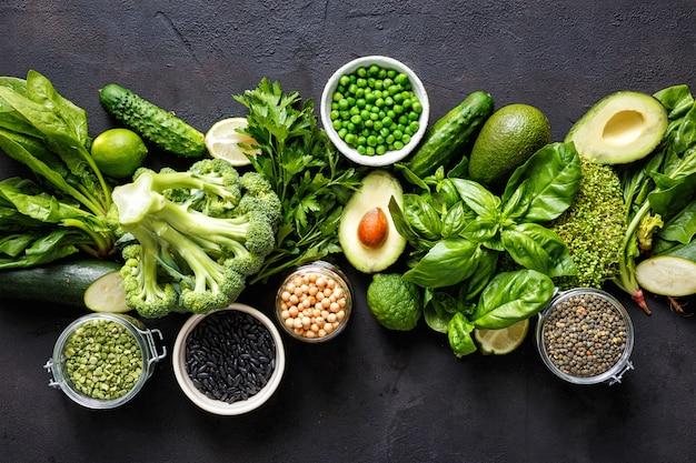 Źródło Białka Wegetarian Widok Z Góry Zdrowe Jedzenie Czyste Jedzenie Premium Zdjęcia