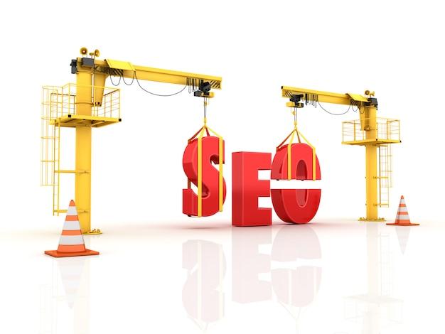 Żurawie Budujące Słowo Seo Premium Zdjęcia