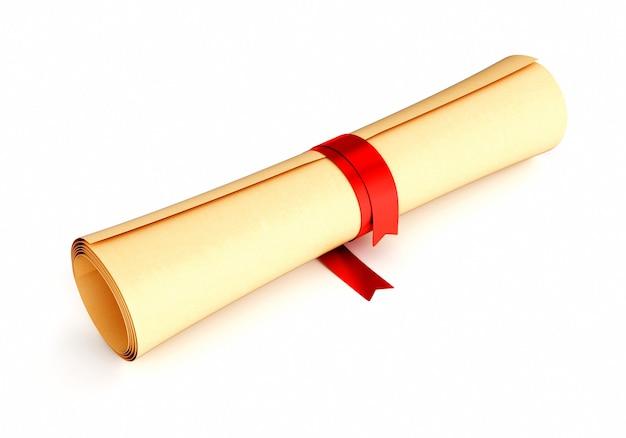 Zwój Papieru Z Czerwoną Wstążką Premium Zdjęcia