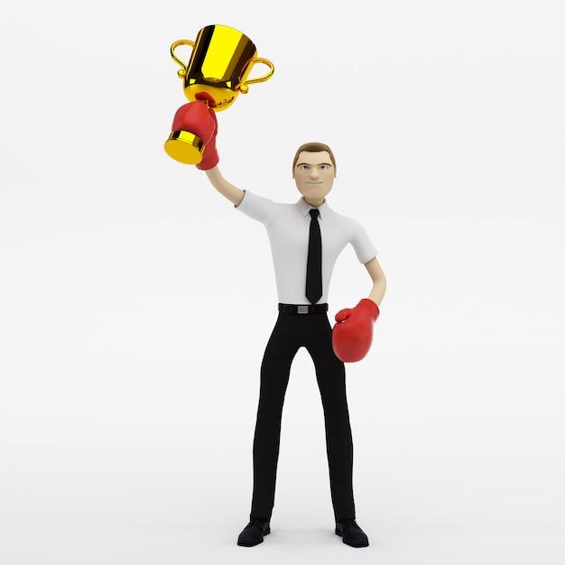Zwycięzca Biznesmena Z Trofeum Premium Zdjęcia