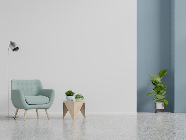 Żywa izbowa wewnętrzna ściana z błękitnym karłem na pustym biel ściany tle. Premium Zdjęcia