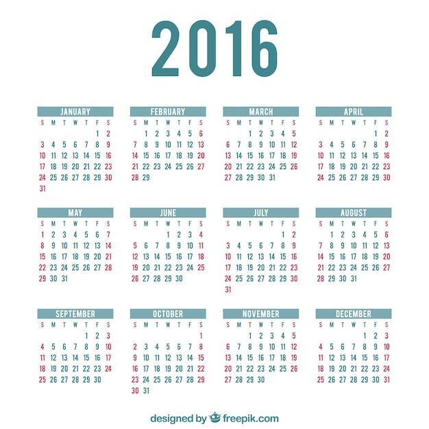 2016 calendario plantilla | Descargar Vectores gratis