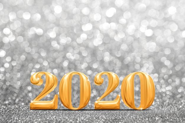 2020 años dorados en abstracto brillante brillo plateado brillante Foto Premium