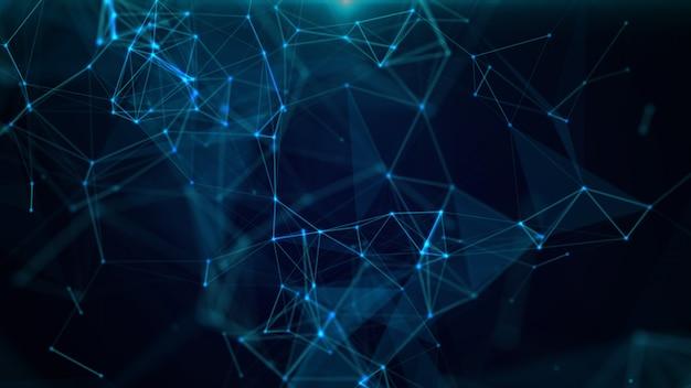 3d abstracto geométrico. triángulos, puntos y líneas se conectan con brillo. Foto Premium
