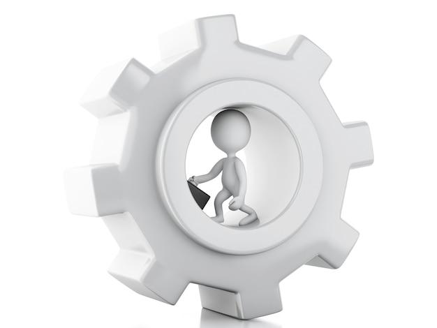 3d blanco empresarios y mecanismo de engranaje Foto Premium