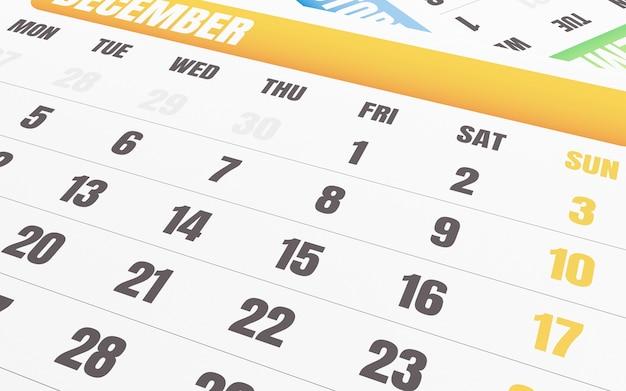 Cerca Calendario.3d Cerca Del Calendario De Diciembre Descargar Fotos Premium