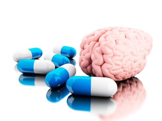 3d un cerebro con algunas pastillas. | Foto Premium