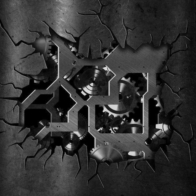 3d fondo de metal grunge agrietado con engranajes y engranajes Foto gratis
