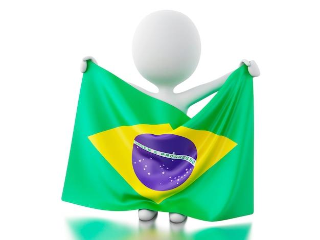 3d gente blanca con una bandera de brasil. Foto Premium