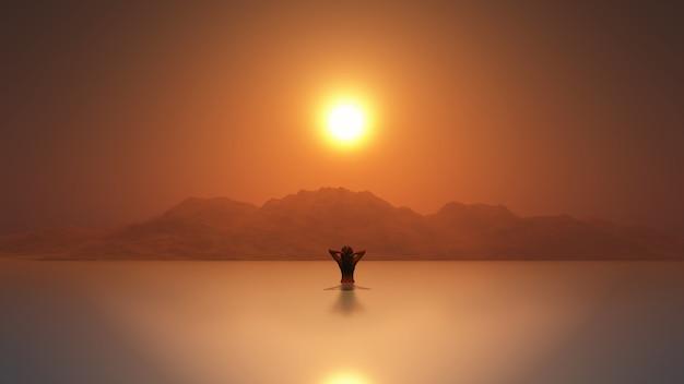 3d hembra en el mar al atardecer Foto gratis
