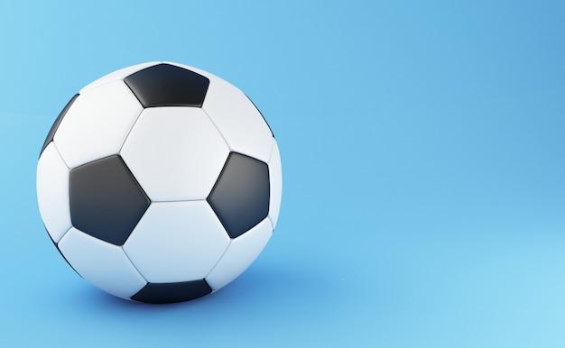 3d ilustración balón de fútbol en fondo azul claro. concepto de los deportes Foto Premium