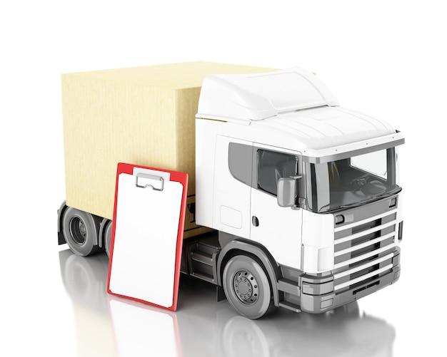 3d ilustración camión con cajas de cartón. Foto Premium