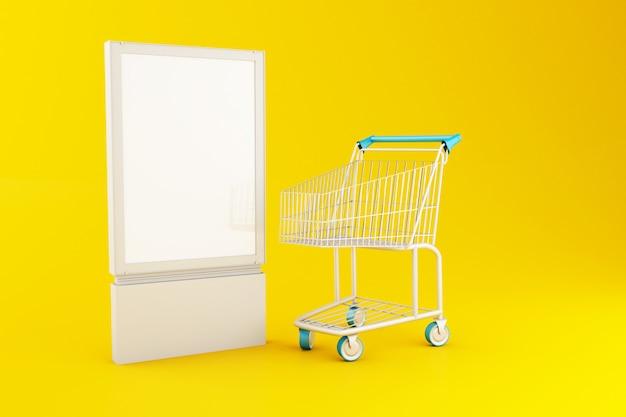 3d letrero en blanco y carrito de compras Foto Premium