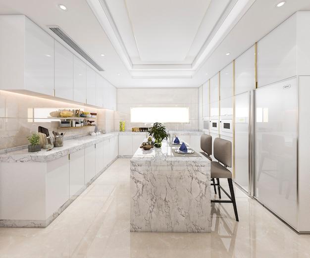 3d que rinde la cocina mínima blanca con la decoración de lujo Foto Premium