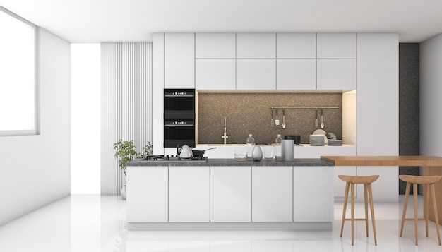 3d que rinde la cocina moderna blanca con la luz de la ventana Foto Premium