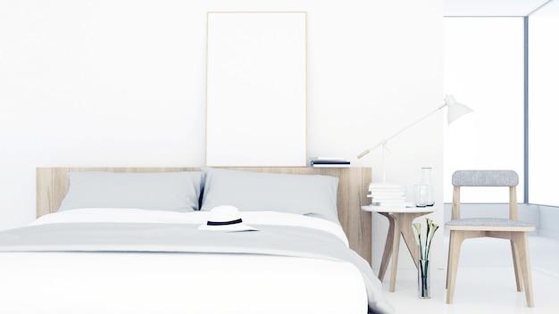 3d que rinde el espacio interior mínimo del dormitorio en muebles ...
