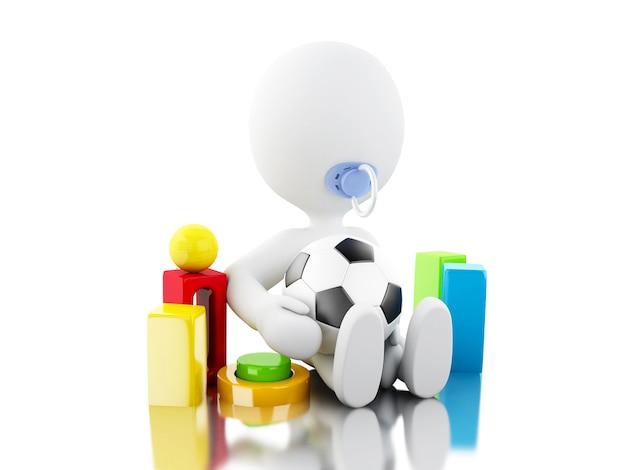 3d recién nacido carácter whit paicificador y juguetes Foto Premium